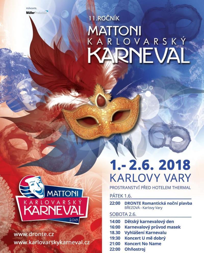 Letošní 11. ročník Mattoni Karlovarského karnevalu připravila pořadatelská agentura Müller Production ve spolupráci s Nadací Města Karlovy Vary na první červnový víkend 1. – 2. 6. 2018.