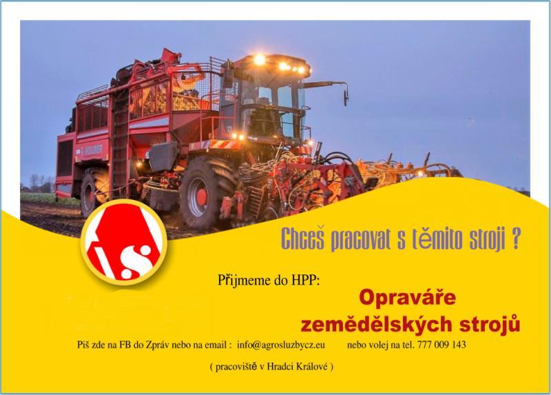 Přijmeme opraváře zemědělských strojů.
