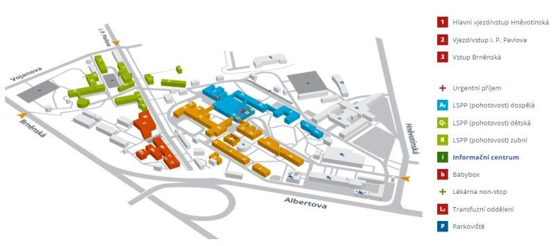 Orientační plán areálu FNOL