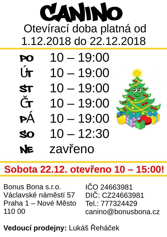 Prosincová otevírací doba platná od 1.12. do 22.12.2018. Otevírací doba bude prodloužena až do 19:00! V sobotu 22.12.2018 bude otevřeno až do 15:00.