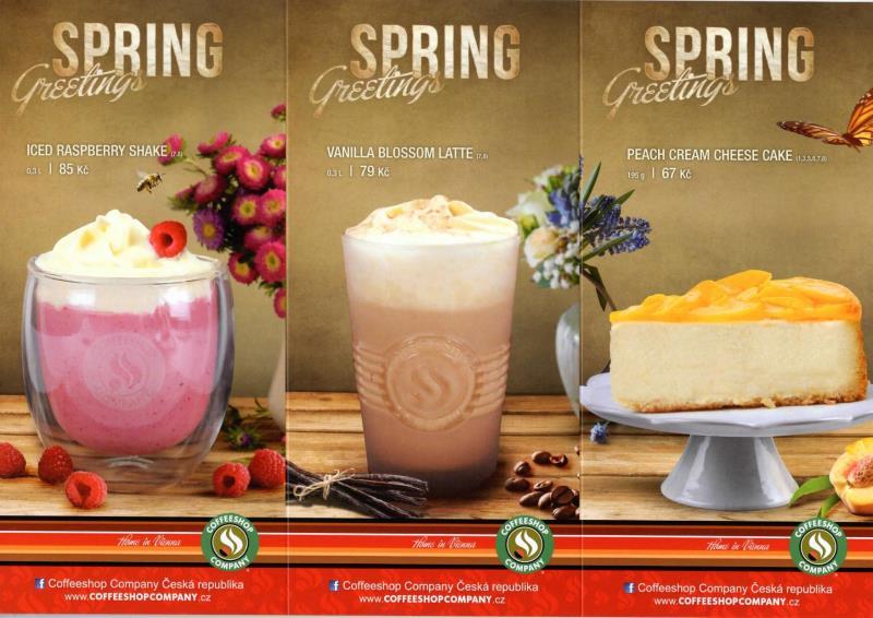 Naše nová jarní nabídka SPRING Greetings :-) Výborné ICED Rasberry shake, Vanilla blossom latte a broskvový cheesecake. Těšíme se na vás! :-)  INFO : brzy si budete moci vychutnat naše novinky i na zahrádce!