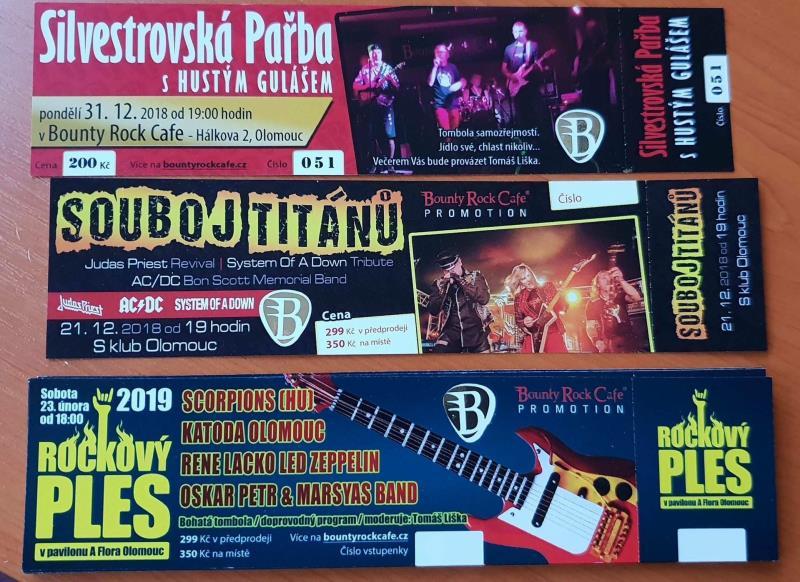 Vstupenky na Rockový ples, Silvestra i Souboj Titánů v prodeji v Bounty Rock Cafe