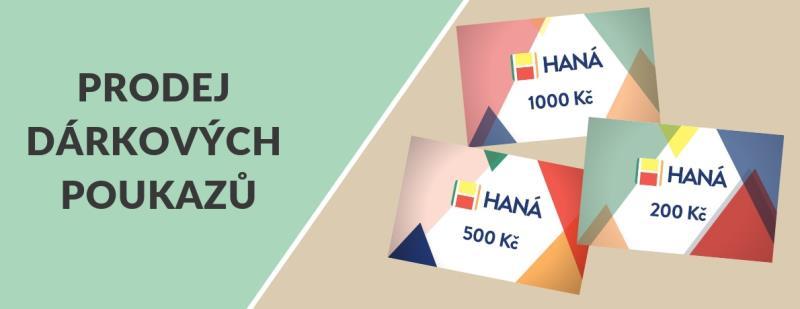 Dárkové poukazy je možné zakoupit na Správě OC HANÁ , Po – Pá od 9 do 17 hod. Poukazy se vystavují na hodnotu dle přání, tedy 200, 500, 1 000 tak, jak si zákazník zvolí.