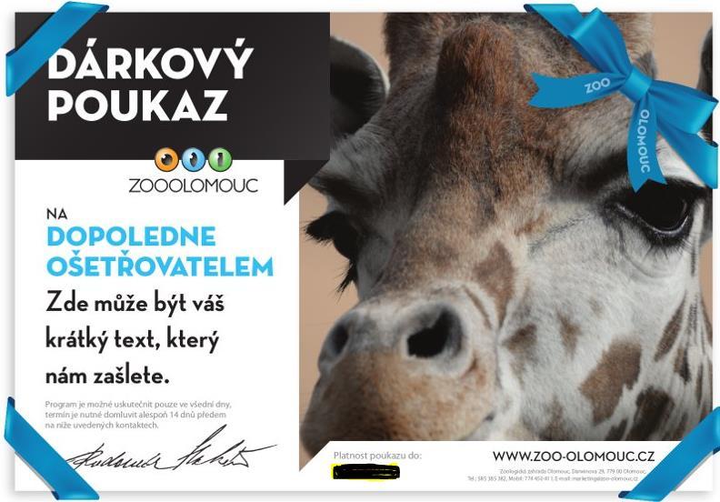 Dopoledne ošetřovatelem Vyzkoušejte si práci v zoologické zahradě a dostaňte se ke zvířatům blíže. Nebo tento zážitek věnujte formou dárkového poukazu těm, které si přejete potěšit.