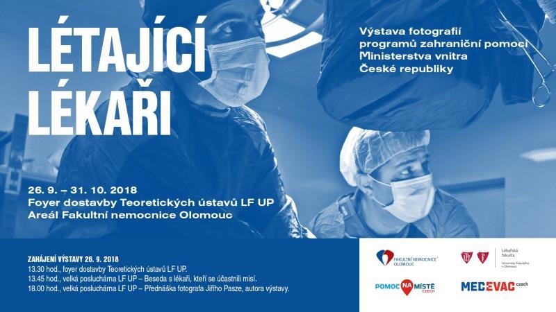 """Výstava fotografií """"Létající lékaři"""" do 31.10 v areálu FN Olomouc ve Foyer dostavby Teoretických ústavů LF UP."""