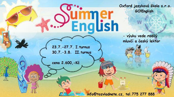 Letní angličtina pro děti. Výuka vedená rodilým mluvčím a českým lektorem