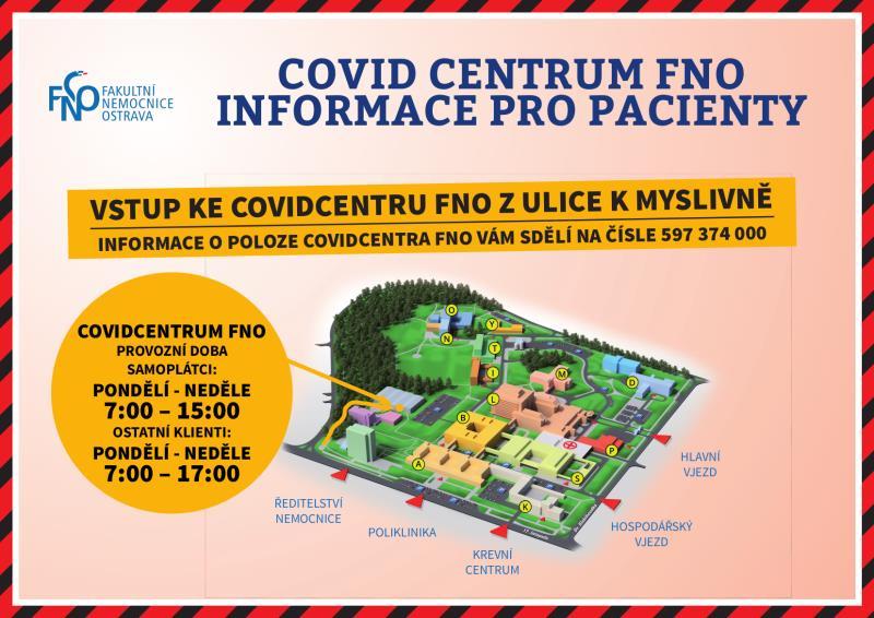 Infocentrum, kde vám poskytnou všechny potřebné informace k onemocnění Covid-19, je v areálu COVID CENTRA otevřeno v pracovních dnech v době od 8 do12 hod. V sobotu a v neděli je otevřeno od 9 do 13 hod.