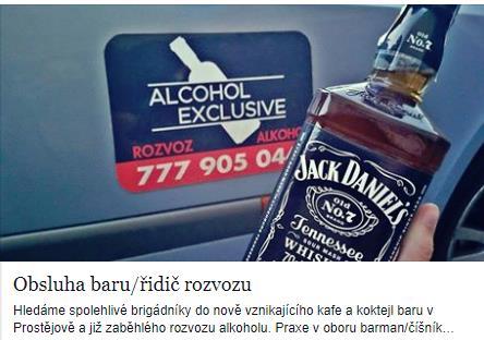 Hledáme brigádníky! Své životopisy zasílejte na email obchod@alcoholexclusive.cz