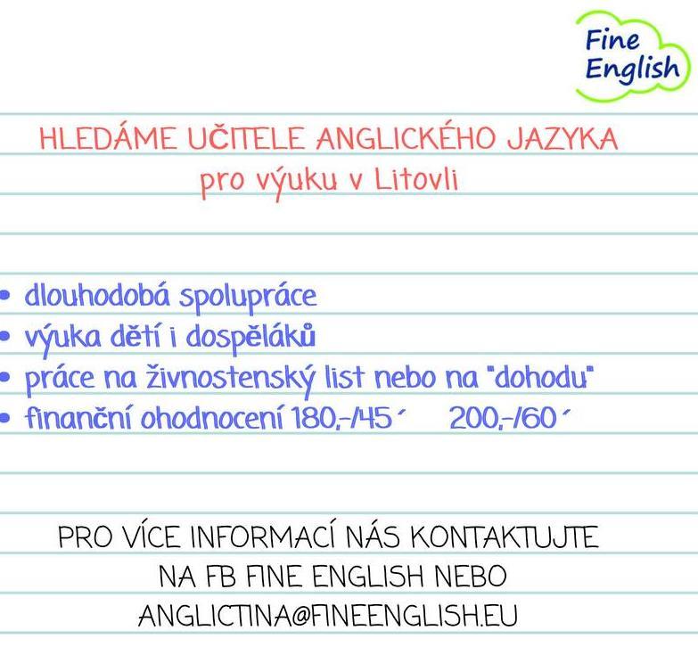 Hledáme učitele! :) ozvěte se nám na: anglictina@fineenglish.eu