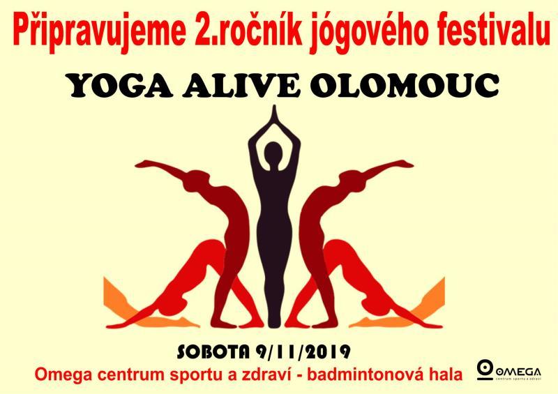 Již pro vás připravujeme 2.ročník festivalu YOGA ALIVE. Den plný jógy, relaxace a meditace se uskuteční 9.11.2019 v badmintonové hale. Můžete se těšit na špičkové lektory. Více info, již brzy na www.omegasport.cz.