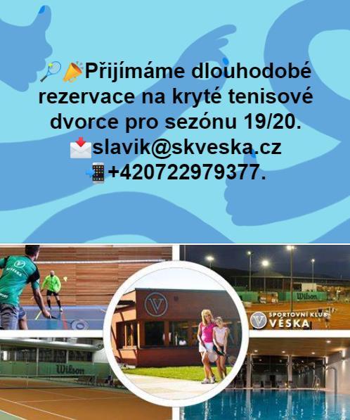 Přijímáme dlouhodobé rezervace krytých tenisových dvorců pro zimní sezónu 2019/2020. Rezervace provádějte na tel. +420 722 979 377 nebo na e-mailu slavik@skveska.cz.