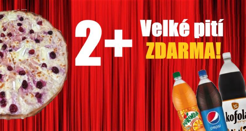 Objednejte si 2 pizzy a vyberte si k nim pití dle vašeho výběru zdarma. Nahlaste při objednání nebo přidejte do košíku (Po zpracování objednávky bude cena pití odečtena)
