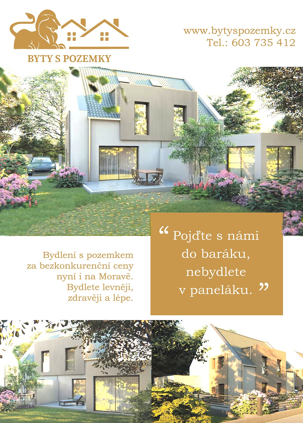 Projekt Byty s pozemky v Olomouci a jeho okolí - nyní v prodeji