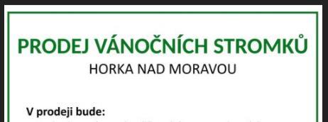 Prodej vánočních stromků Horka nad Moravou